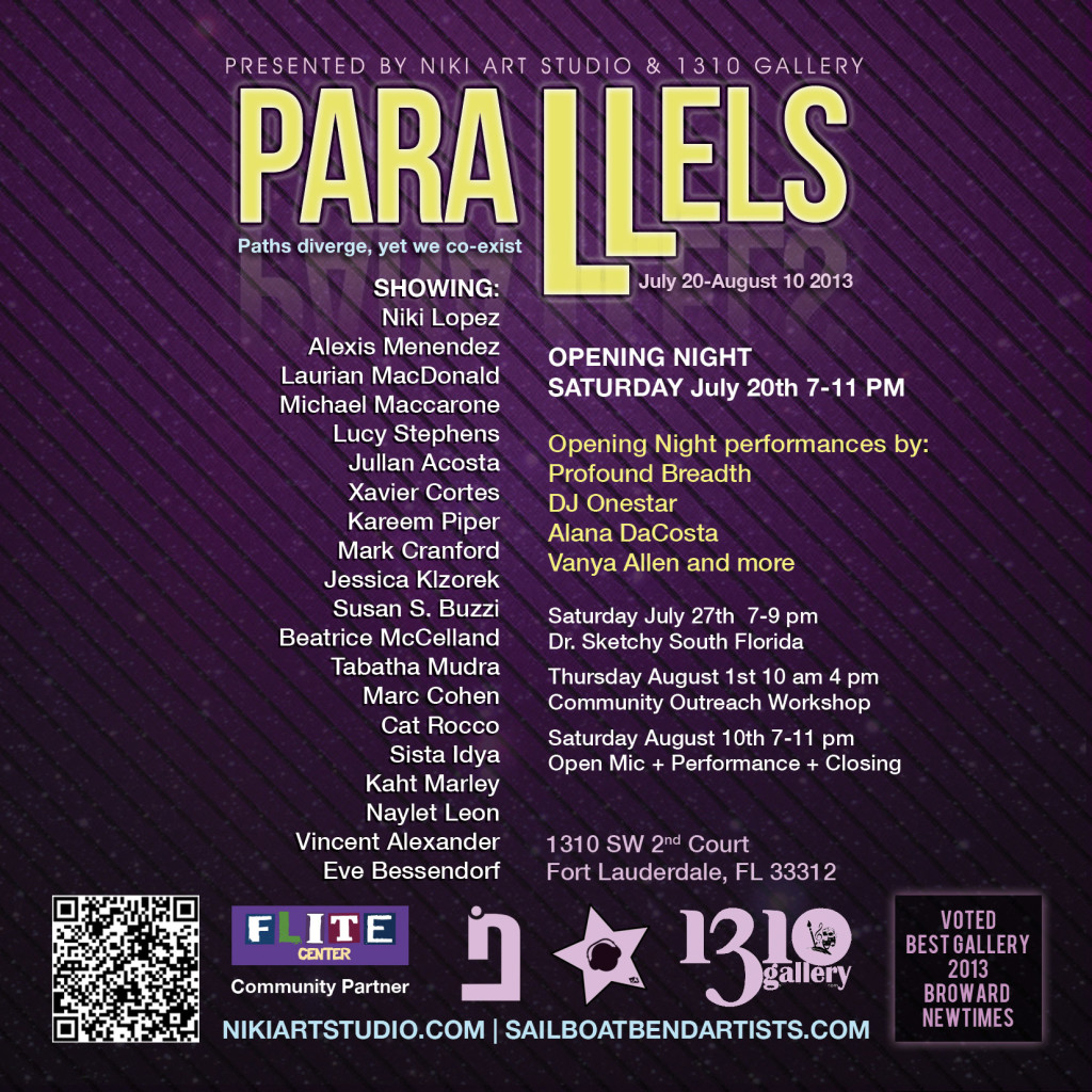 Parallels group art exhibit presented by Niki Lopez flyer